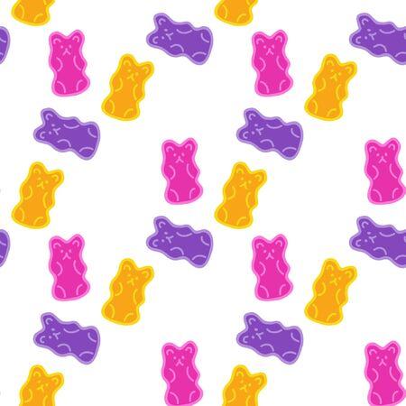 jelly bear seamless doodle pattern illustration