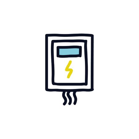 transformer electrical box doodle icon, vector illustration Banque d'images - 130532624