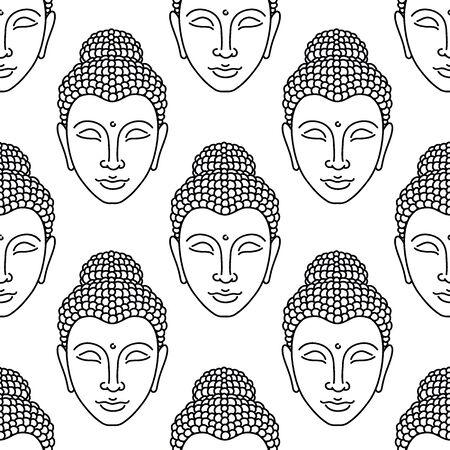 Buddha seamless doodle pattern, vector illustration