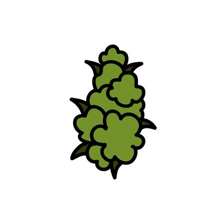 marijuana bud doodle icon, vector illustration