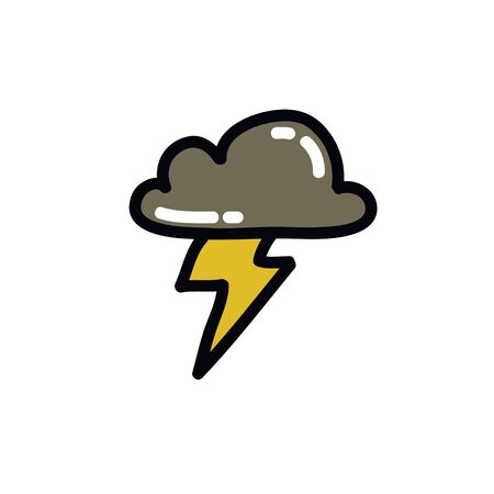 thunderstorm doodle icon, vector illustration