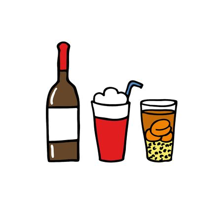 chilean drinks doodle set icon, illustration