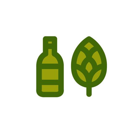 beer bottle and hop icons, vector color illusration