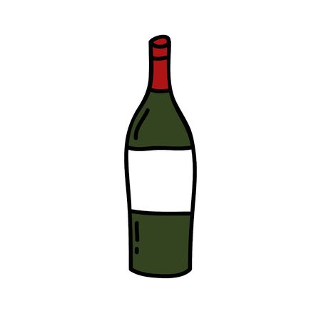 bottle of wine doodle icon, vector color illustration Çizim