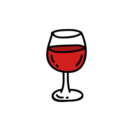 glass of wine doodle icon, vector color illustration