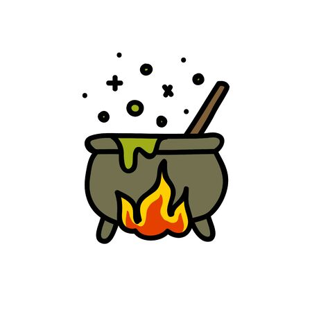 witch cauldron doodle icon, vector color illustration Illusztráció