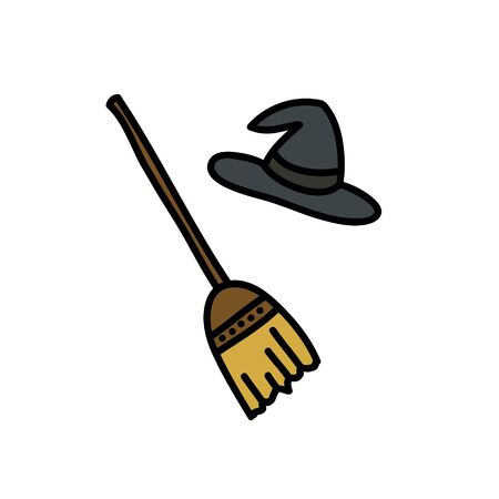 witch hat and broom doodle icon, vector color illustration