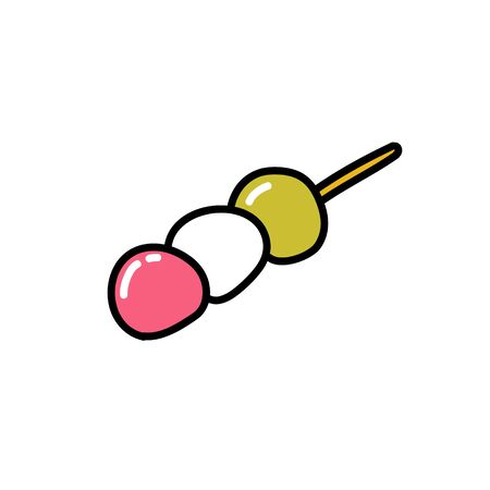 dango japanese dessert doodle icon, vector color illustration