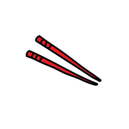 chopsticks doodle icon, vector color illustration Illustration