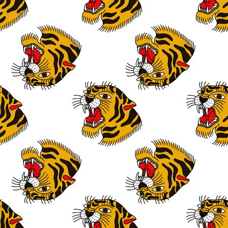 tiger seamless doodle pattern, traditional tattoo color illustration Stock Illustratie