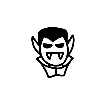 dracula doodle icon, vector line illustration