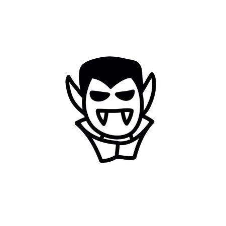 dracula doodle icon, vector line illustration
