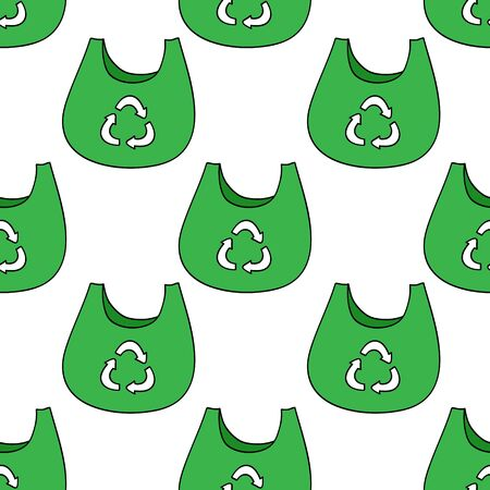 recycling bag seamless doodle pattern, vector color illustration Illusztráció