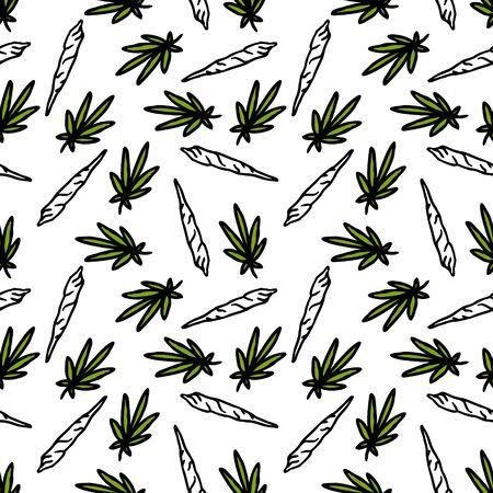 marijuana leaf and spliff (cannabis cigarette) seamless doodle pattern