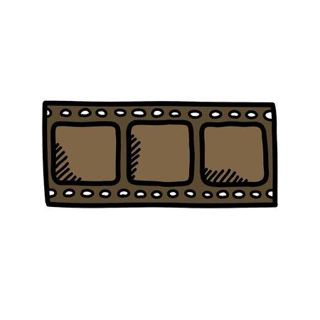 film doodle icon, vector color illustration