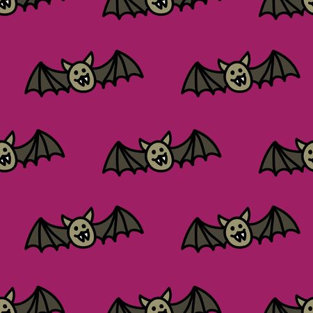 bat seamless doodle pattern, vector color illustration Ilustrace