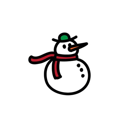 snowman doodle icon, vector color illustration Imagens - 135025090