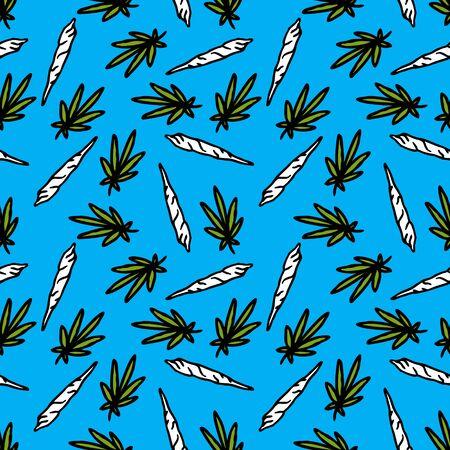 marijuana leaf and spliff seamless doodle pattern, vector color illustration