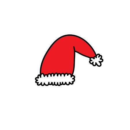 santa claus hat doodle icon, vector color illustration  イラスト・ベクター素材