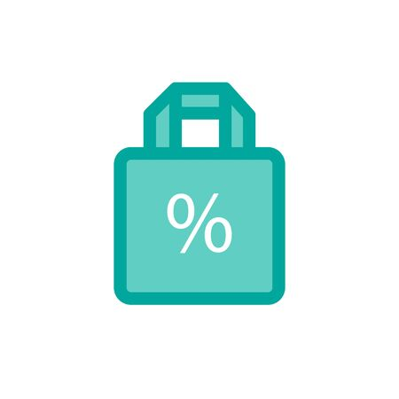 discount package flat icon, vector color illustration
