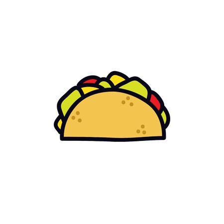 taco doodle icon, vector color illustration
