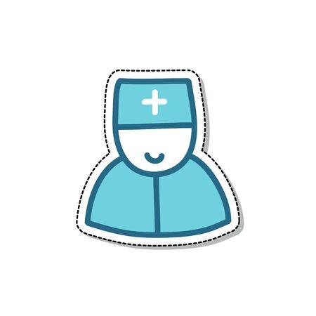 doctor doodle icon, vector color illustration Çizim