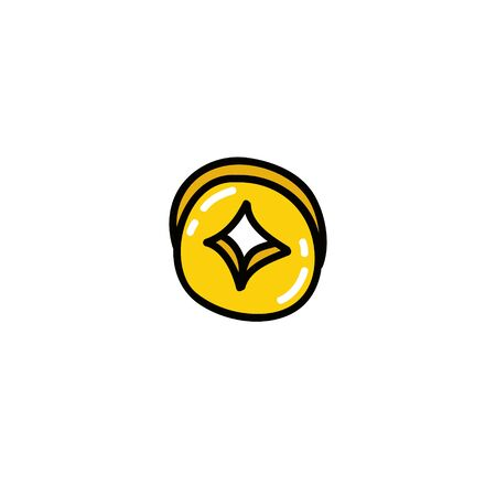 chinese coin doodle icon, vector color illustration