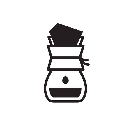 wave pour over coffee maker icon, vector color illustration