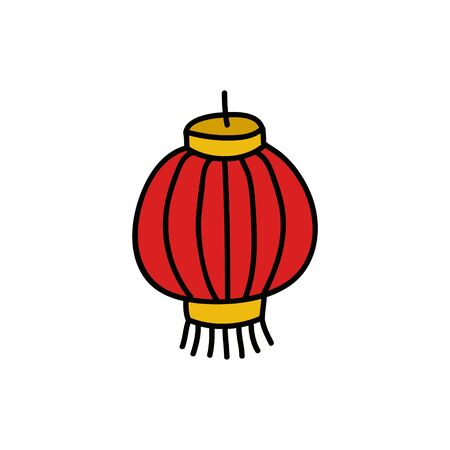 chinese lantern doodle icon, vector color illustration 向量圖像