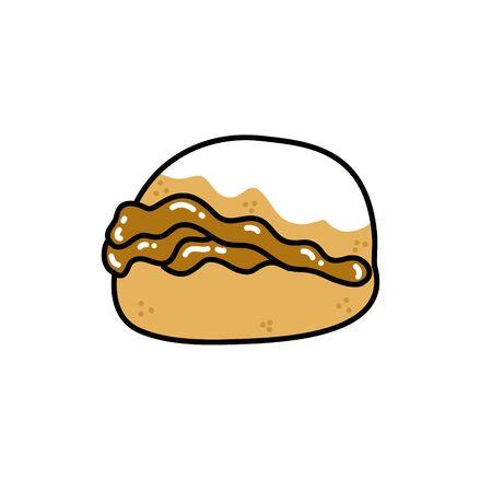 berlin chilean dessert doodle icon, vector color illustration