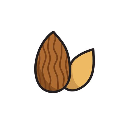 almond doodle icon, vector color illustration 向量圖像