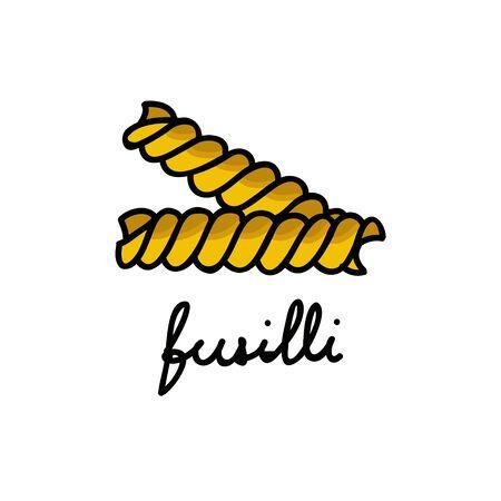 fusilli pasta doodle icon, vector color illustration