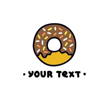 donut doodle icon, vector color illustration