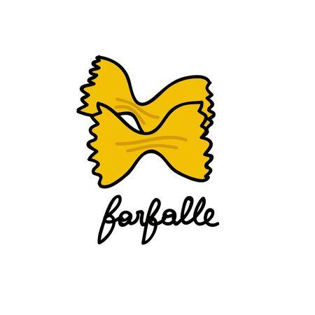 farfalle pasta doodle icon, vector color illustration 向量圖像