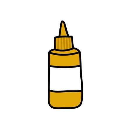mustard doodle icon, vector color illustration