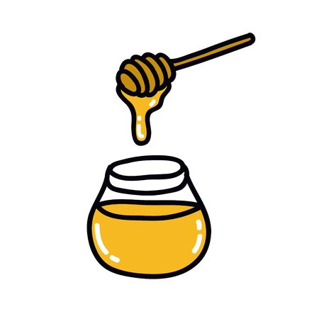 honey doodle icon, vector color illustration 向量圖像