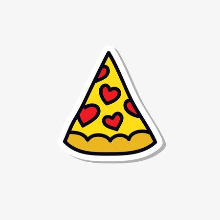 pizza doodle icon, vector color illustration