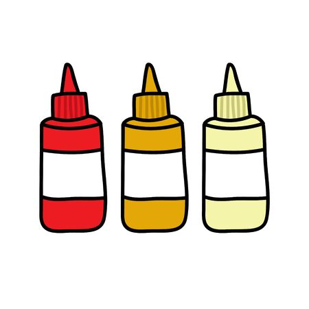 ketchup, mustard and mayonnaise doodle icon, vector color illustration