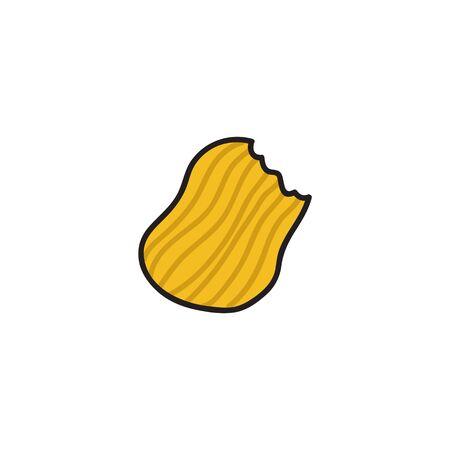 potato chips doodle icon, vector color illustration