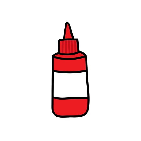 ketchup doodle icon, vector color illustration
