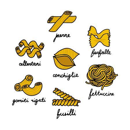 pasta doodle icon, vector color illustration 向量圖像