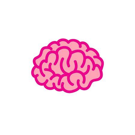 brain doodle icon, vector color illustration