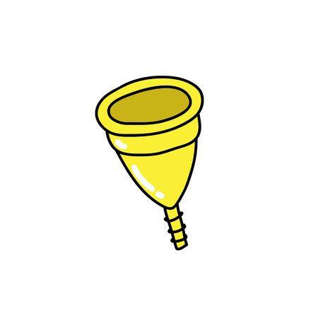 menstrual cup doodle icon, vector color illustration