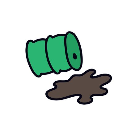 polluted waste tank doodle icon, vector color illustration 向量圖像