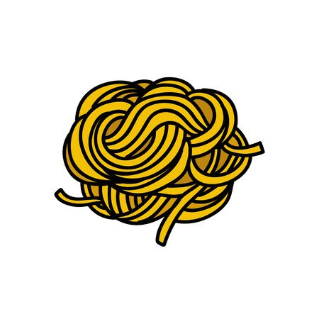 fettuccine pasta doodle icon, vector color illustration