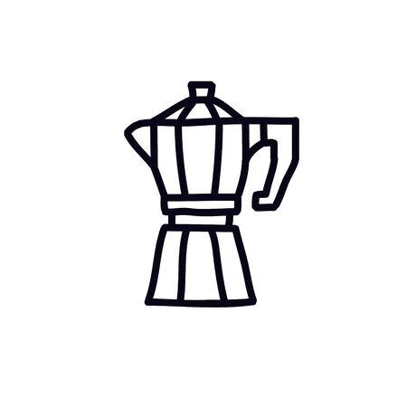 moka pot doodle icon, vector color illustration 向量圖像