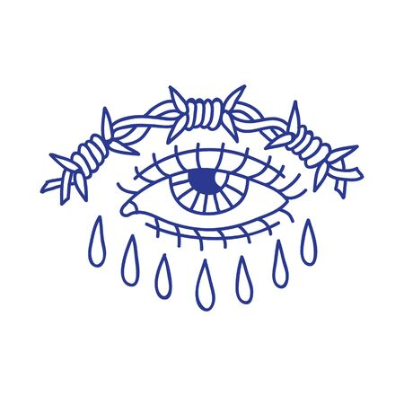 eye with barbed wire doodle icon, traditional tattoo black illustration 向量圖像