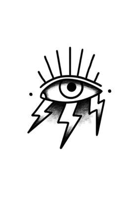 eye with lightning doodle icon, traditional tattoo black illustration