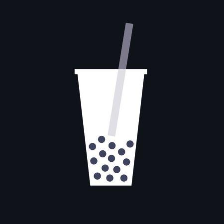 bubble tea icon, vector color illustration