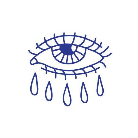 crying eye doodle icon, traditional tattoo black illustration